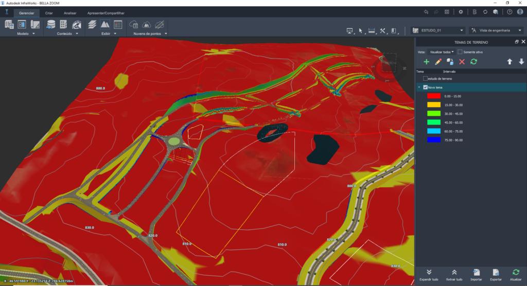 estudo de inclinacao no modelo bim do curso de infraworks da spbim