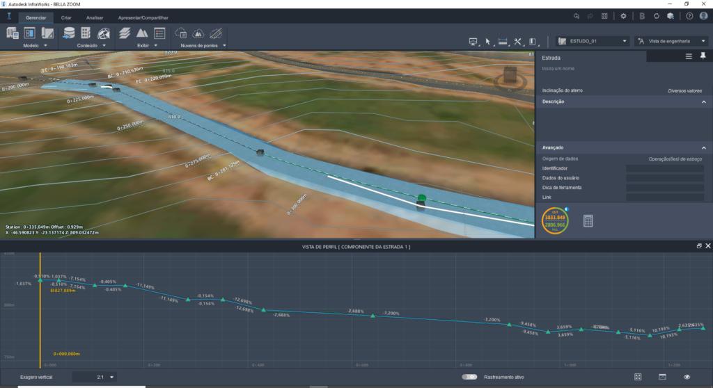 perfil longitudinal e calculo de corte e aterro no modelo bim do curso de infraworks da spbim