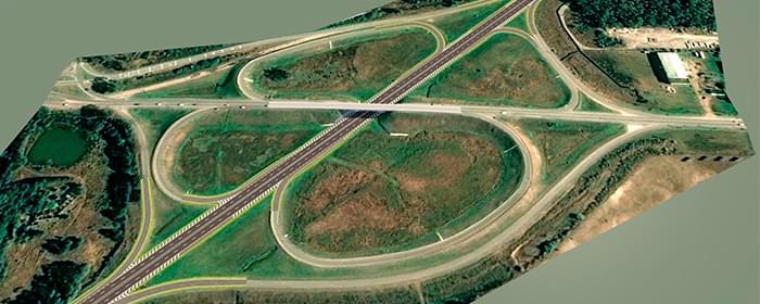 visualizacao aerea da rodovia feita em bim